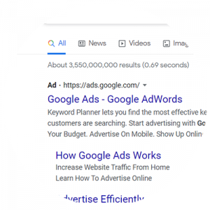 google ad search engine results page